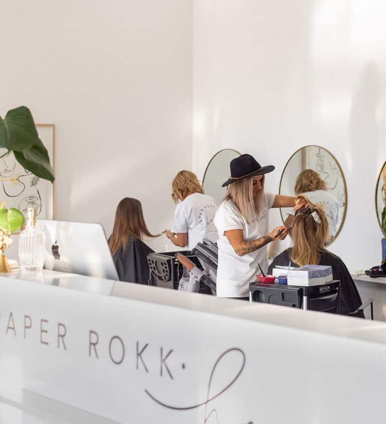 paper rokk hair salon colour foiling